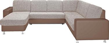 WOHNLANDSCHAFT in Beige, Braun Textil - Beige/Alufarben, KONVENTIONELL, Textil/Metall (167/303/229cm) - Xora