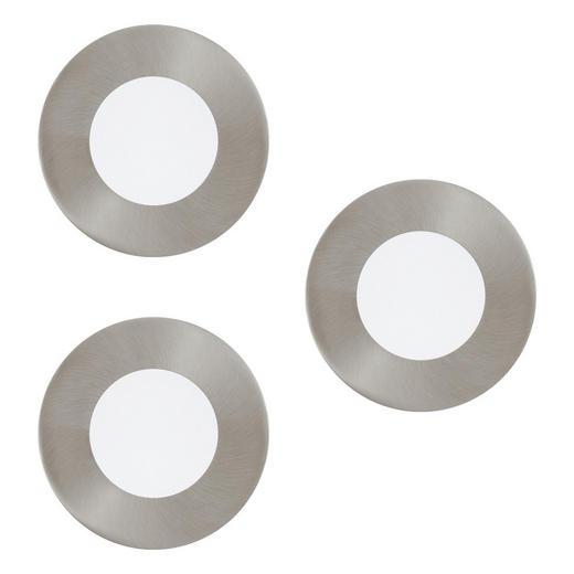 EINBAULEUCHTENSET 3-teilig FUEVA-CONNECT - Weiß/Nickelfarben, KONVENTIONELL, Kunststoff/Metall (8,5/3cm)