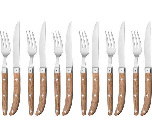 STEAKBESTECK 12-teilig  Ranch  - Edelstahlfarben/Braun, Design, Holz/Metall (26/23/5.5cm) - WMF