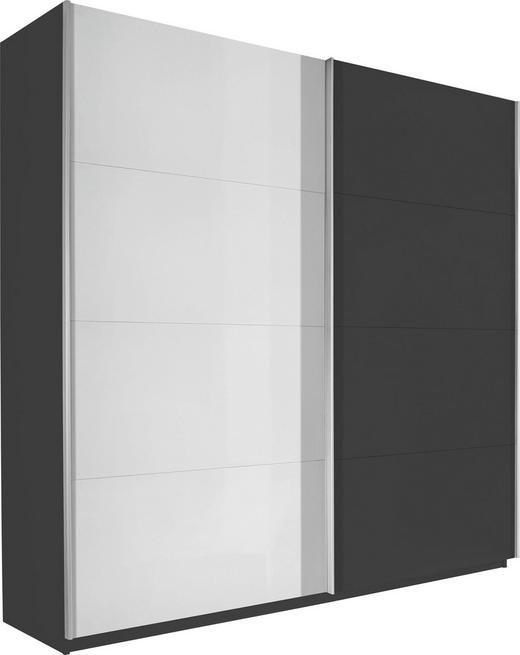SCHWEBETÜRENSCHRANK 2-türig Schwarz, Weiß - Schwarz/Alufarben, Design, Holzwerkstoff/Metall (181/223/69cm) - Carryhome
