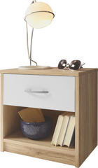 NOČNA OMARICA, bela, hrast - aluminij/bela, Design, umetna masa/les (39/41/28cm)
