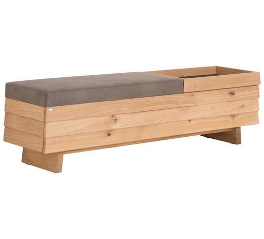 GARDEROBENBANK 160/44,5/38,7 cm - Eichefarben/Grau, Natur, Holz/Textil (160/44,5/38,7cm) - Voglauer