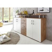 KOMODA, bela, hrast - bela/hrast, Konvencionalno, umetna masa/leseni material (178 90 38cm) - Boxxx