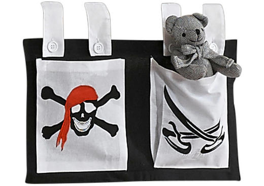 BETTTASCHE Schwarz, Weiß - Schwarz/Weiß, Design, Textil