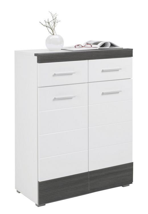 KOMMODE Pinienfarben, Weiß - Silberfarben/Weiß, Design, Kunststoff (80/105/40cm) - BOXXX