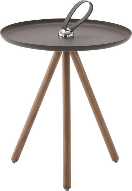 BEISTELLTISCH Nussbaum massiv rund Braun, Grau, Nussbaumfarben - Nussbaumfarben/Braun, Design, Holz/Metall (40/45cm) - Rolf Benz