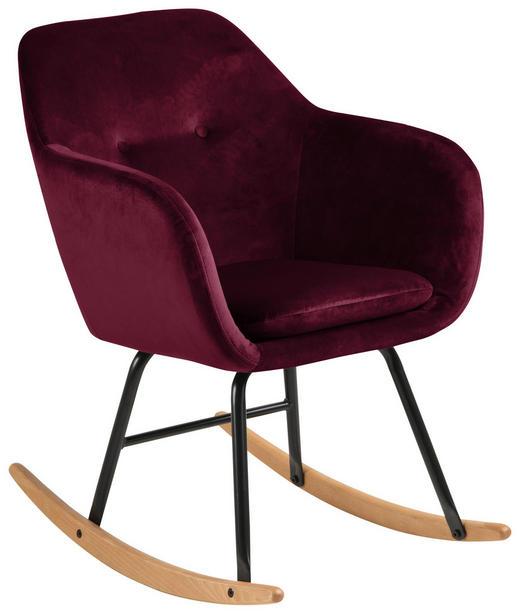 SCHAUKELSTUHL Samt Bordeaux - Bordeaux/Schwarz, Trend, Holz/Textil (57,0/81,0/71,0cm) - Carryhome