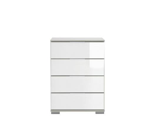 NACHTKÄSTCHEN Weiß 52/74/38 cm - Chromfarben/Weiß, Design, Glas/Kunststoff (52/74/38cm) - Carryhome