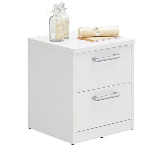 KOMODA, bílá - bílá/barvy stříbra, Konvenční, kov/kompozitní dřevo (38/46/36cm) - Xora