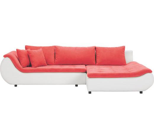 WOHNLANDSCHAFT in Textil Rot, Weiß - Rot/Schwarz, Design, Kunststoff/Textil (310/185cm) - Carryhome