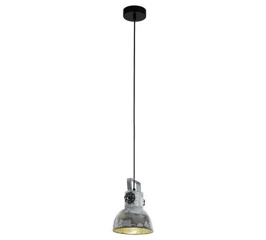 HÄNGELEUCHTE - Zinkfarben/Schwarz, LIFESTYLE, Holz/Metall (17,5/110cm)