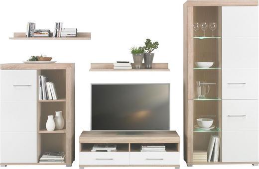 WOHNWAND Sonoma Eiche, Weiß - Chromfarben/Alufarben, Design, Glas/Holz (294/201/48cm) - Carryhome