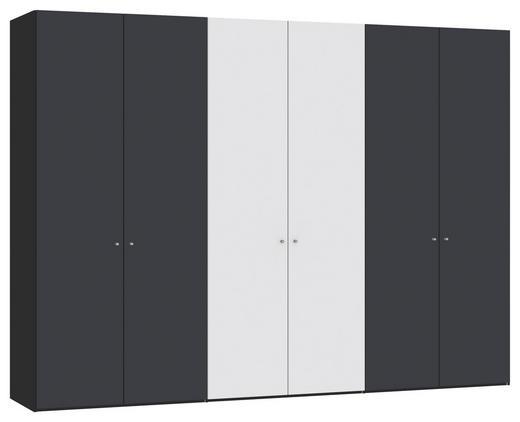 DREHTÜRENSCHRANK 6-türig Anthrazit, Schwarz, Weiß - Anthrazit/Silberfarben, Design, Glas/Holzwerkstoff (303,1/220/58,5cm) - Jutzler