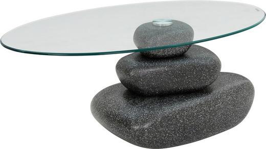COUCHTISCH oval Schwarz - Schwarz, Design, Glas/Kunststoff (110/65/45,50cm) - Carryhome
