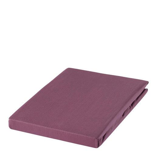 SPANNBETTTUCH Zwirn-Jersey Aubergine, Magnolie bügelfrei, für Wasserbetten geeignet - Aubergine/Magnolie, Basics, Textil (150/200cm) - ESTELLA