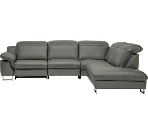 WOHNLANDSCHAFT in Leder Grau  - Grau, Design, Leder/Metall (296/268cm) - Valdera