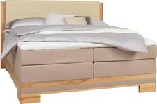 BOXSPRINGBETT 160 cm   x 200 cm   in Holz, Textil Beige, Buchefarben - Beige/Buchefarben, Natur, Holz/Textil (160/200cm) - Linea Natura