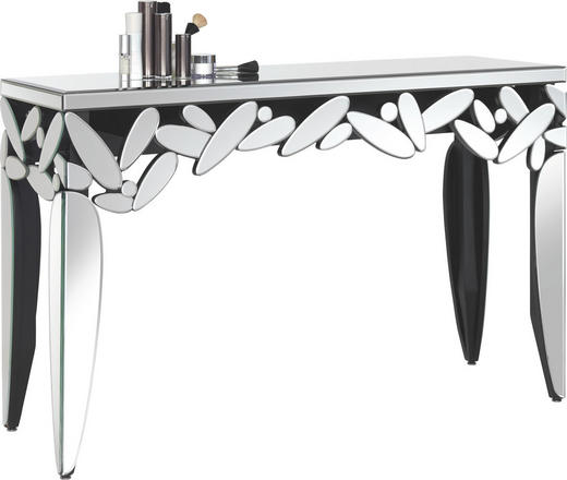 KONSOLENTISCH Klar, Schwarz - Klar/Schwarz, Design, Glas/Holzwerkstoff (136/45/85,5cm) - Xora