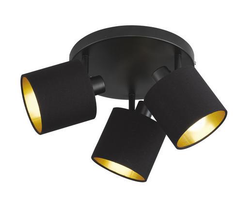 DECKENLEUCHTE - Goldfarben/Schwarz, Basics, Textil/Metall (25,0/19,0cm)