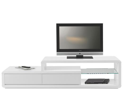 TV-ELEMENT Weiß  - Schwarz/Weiß, Design, Glas/Kunststoff (180/44/39cm) - Carryhome