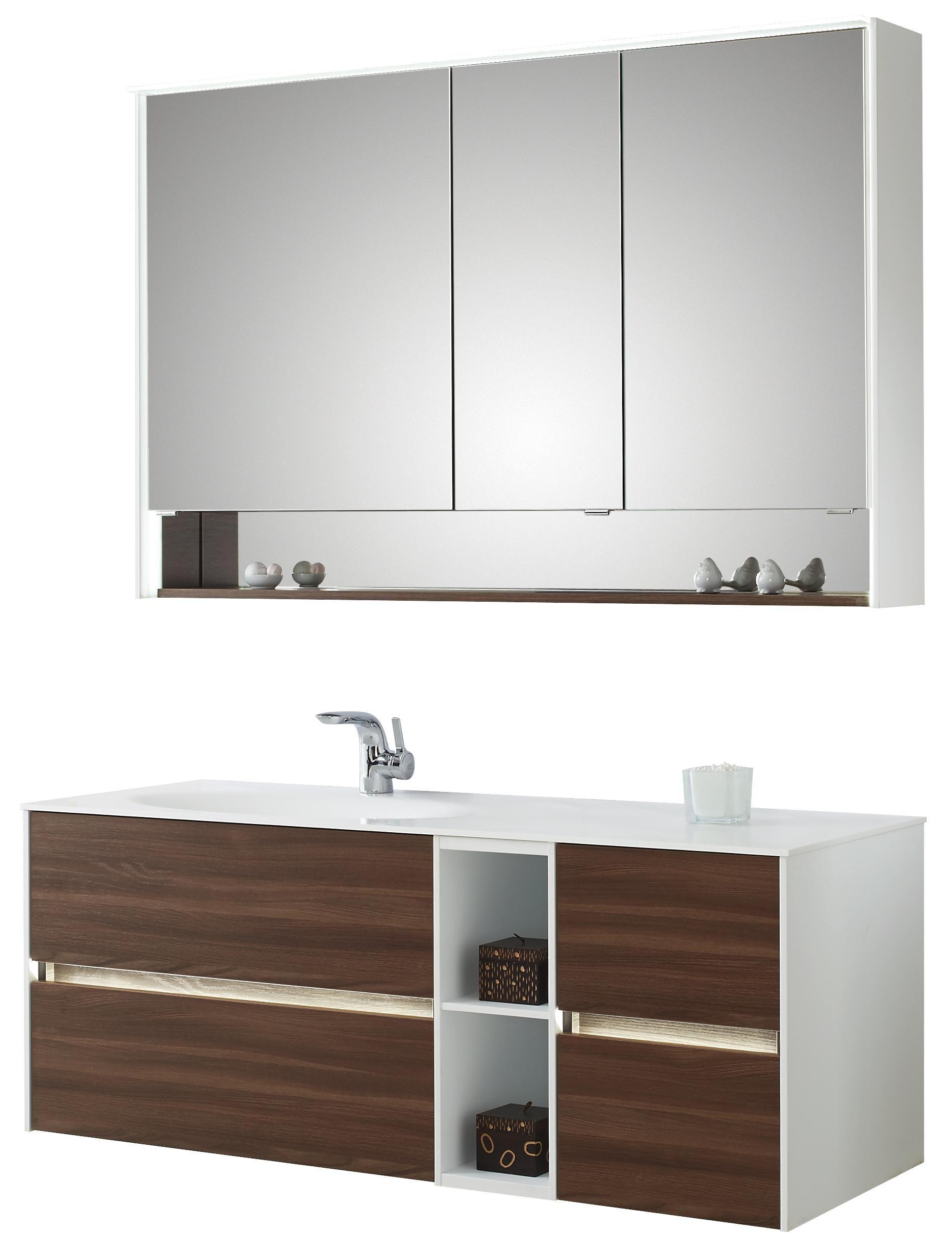 BADEZIMMER   Braun/Weiß, Design, Holzwerkstoff/Stein (133cm)   Sadena