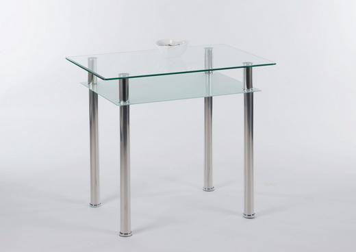 ESSTISCH Chromfarben, Klar - Chromfarben/Klar, KONVENTIONELL, Glas/Metall (90/60/75cm) - Carryhome