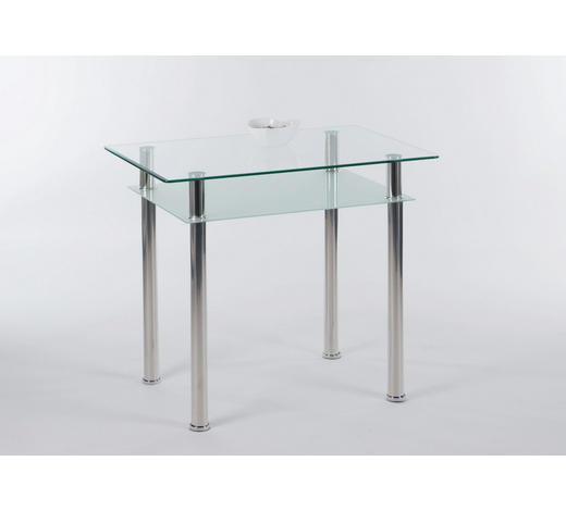 ESSTISCH Klar, Chromfarben - Chromfarben/Klar, KONVENTIONELL, Glas/Metall (90/60/75cm) - Carryhome