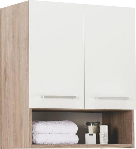 HÄNGESCHRANK Weiß - Chromfarben/Eichefarben, Design, Holzwerkstoff/Metall (60/70/33cm) - Carryhome