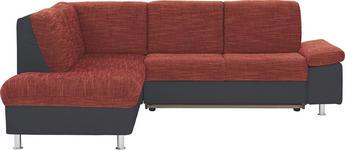 WOHNLANDSCHAFT in Rot, Schwarz Textil - Chromfarben/Rot, Design, Kunststoff/Textil (200/241cm) - Xora