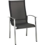 STAPELSESSEL - Edelstahlfarben/Anthrazit, Design, Textil/Metall (61/103/66cm) - Amatio