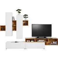 OBÝVACÍ STĚNA, bílá, barvy dubu - bílá/černá, Moderní, kompozitní dřevo/umělá hmota (326,70/204/49cm) - Ti`me