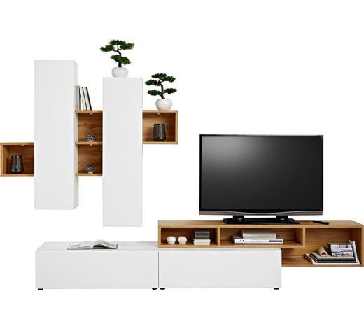 WOHNWAND Weiß, Eichefarben  - Eichefarben/Schwarz, Design, Holzwerkstoff/Kunststoff (326,70/204/49cm) - Ti`me