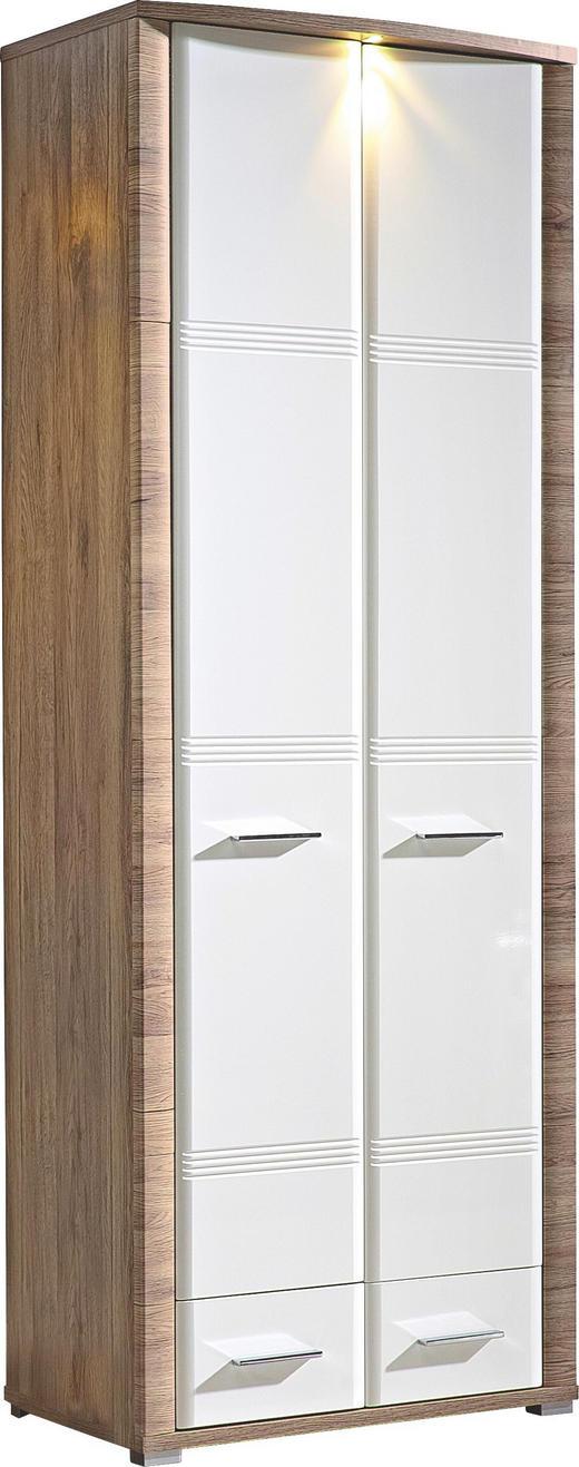 GARDEROBENSCHRANK Hochglanz Eichefarben, Weiß - Chromfarben/Eichefarben, KONVENTIONELL, Holzwerkstoff/Metall (75/200/42cm)