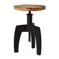Hocker in Holz, Metall Naturfarben, Schwarz - Schwarz/Naturfarben, Trend, Holz/Metall (36/48cm) - Ambia Home