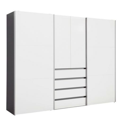 KLEIDERSCHRANK 4-türig Graphitfarben, Weiß - Graphitfarben/Alufarben, Design, Holzwerkstoff/Metall (300/236/68cm) - Hom`in