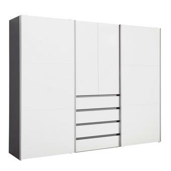 OMARA ZA OBLAČILA, bela, grafit - aluminij/bela, Design, kovina/leseni material (300/236/68cm) - Hom`in