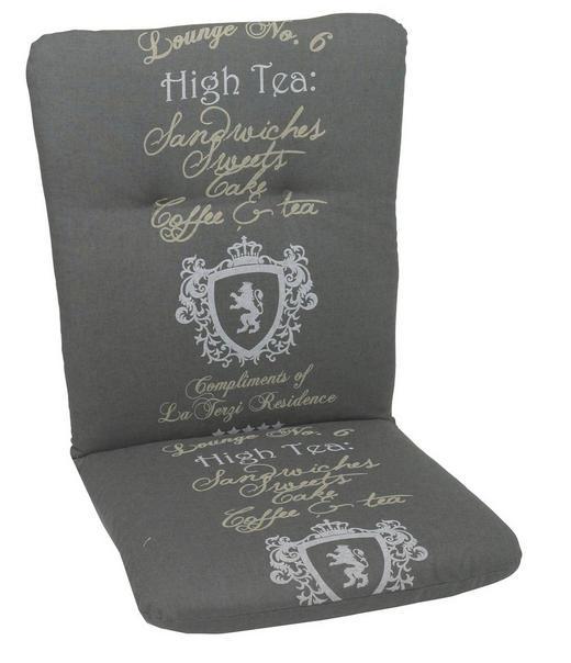 SESSELAUFLAGE Schriftzug - Anthrazit, Design, Textil (45/5/100cm)