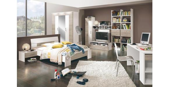 BETT Weiß, Eichefarben  - Eichefarben/Weiß, Design, Holzwerkstoff (120/200cm) - Cantus