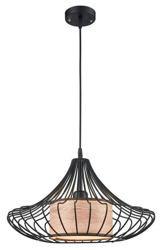 HÄNGELEUCHTE - Schwarz/Braun, Trend, Textil/Metall (42/75cm)