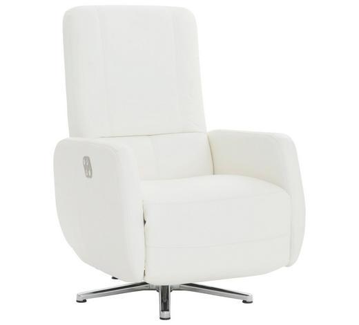 RELAXSESSEL in Leder Weiß - Chromfarben/Weiß, KONVENTIONELL, Leder (72/109/88cm) - Beldomo Premium