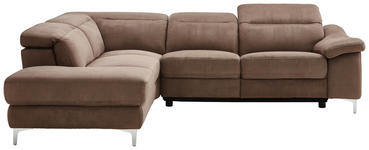 WOHNLANDSCHAFT Braun, Chromfarben Struktur  - Chromfarben/Braun, Design, Textil/Metall (219/267cm) - Cantus