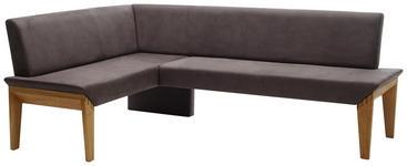 ECKBANK 162/263 cm  in Grau, Eichefarben  - Eichefarben/Grau, KONVENTIONELL, Holz/Textil (162/263cm) - Venda