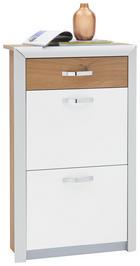 SCHUHSCHRANK Alufarben, Eichefarben, Weiß - Chromfarben/Eichefarben, Design, Metall (63/103/25cm) - DIETER KNOLL