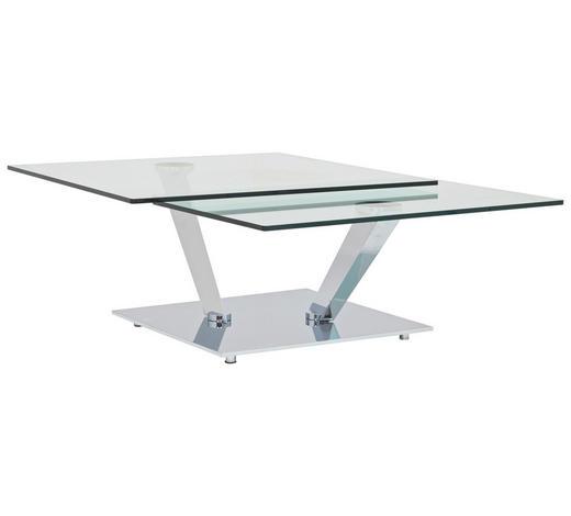 COUCHTISCH in Metall, Glas 84-129/106/40 cm   - Chromfarben, Design, Glas/Metall (84-129/106/40cm)