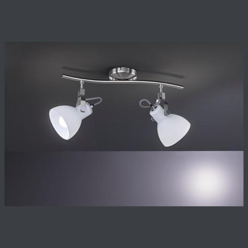 DECKENLEUCHTE - Weiß/Nickelfarben, Basics, Glas/Metall (44/12/22cm)
