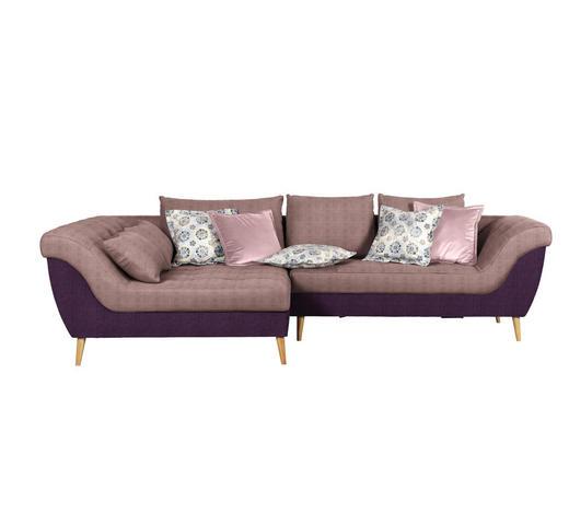 WOHNLANDSCHAFT in Textil Rosa, Violett - Violett/Naturfarben, Design, Holz/Textil (175/313cm) - Carryhome