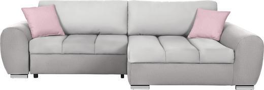 WOHNLANDSCHAFT Flieder, Hellgrau, Naturfarben Flachgewebe - Chromfarben/Flieder, Design, Textil (290/175cm) - Carryhome