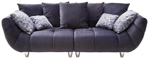 BIGSOFA Samt Grau - Chromfarben/Creme, Design, Kunststoff/Textil (260/87/122cm) - Hom`in