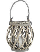 SVÍČKA VE SKLE - šedá/čiré, Trend, dřevo/textilie (15/21cm) - Ambia Home