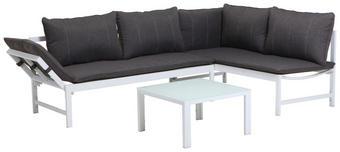 LOUNGEGARNITUR Aluminium, Stahl - Anthrazit/Weiß, Design, Glas/Textil (166/144cm)